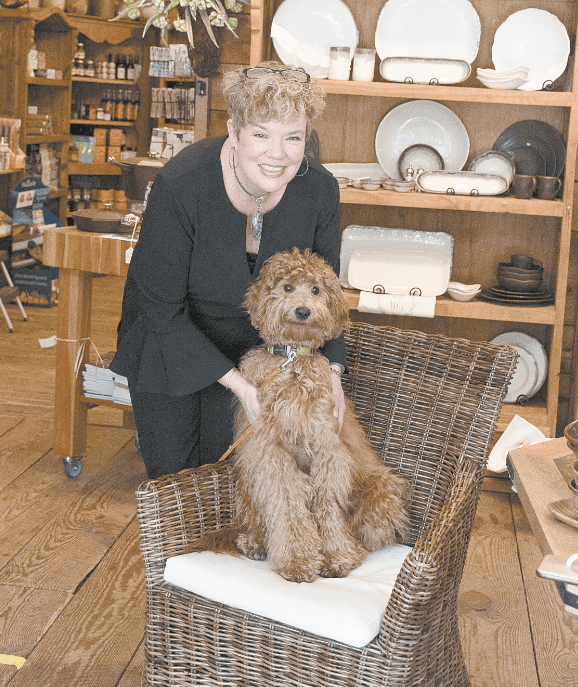 """Cook Store owner Wesley Lassen with Lucy, a 10½-month-old goldendoodle. Lucy has been the store's """"shop dog"""" since she was 7 weeks old. Journal photos by Ingrid Howard."""