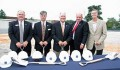 "Vestavia Hills officials broke ground in June on the new City Hall Complex being built on Montgomery Highway. From left: John Henley, Steve Ammons, George Pierce, Mayor Alberto ""Butch"" Zaragoza and Jim Sharp. (Photo special to the Journal by Deloye Burrell)"