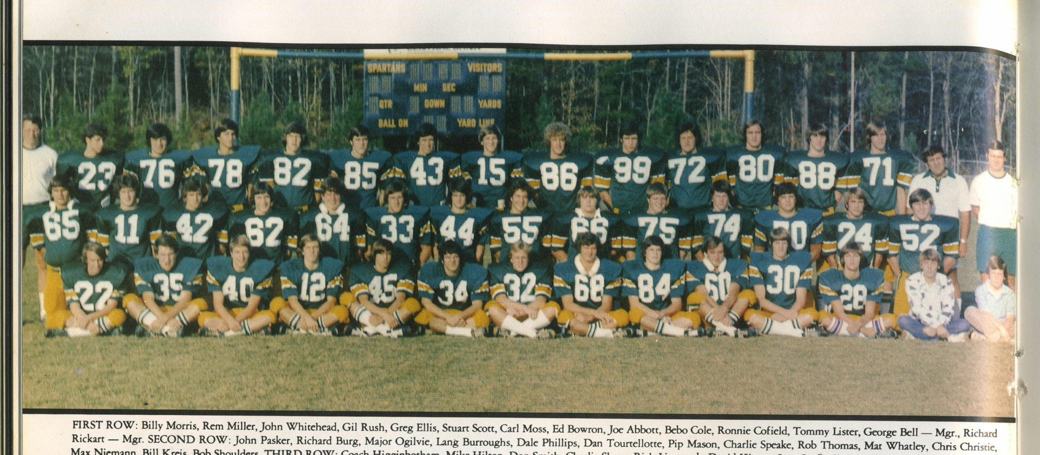 State Champions: FIRST ROW: Billy Morris, Rem Miller, John Whitehead, Gil Rush, Greg Ellis, Stuart Scott, Carl Moss, Ed Bowron, Joe Abbott, Bebo Cole, Ronnie Cofield, Tommy Lister, George Bell -- Mgr. and Richard Rickart -- Mgr. SECOND ROW: John Pasker, Richard Burg, Major Ogilvie, Lang Burroughs, Dale Phillips, Dan Tourtellotte, Pip Mason, Charlie Speake, Rob Thomas, Mat Whatley, Chris Christie, Max Niemann, Bill Kreis and Bob Shoulders. THIRD ROW: Coach Higginbotham, Mike Hilton, Don Smith, Charlie Sharp, Rich Lipscomb, David Kinsey, Scot Cardwell, Doug Walker, Greg McCormick, Keith Bouchillon, George Nakos, Allan Hughes, Sam Price, Mike Mathews, Coach Bradley and Coach Brenner. Photo special to the Journal