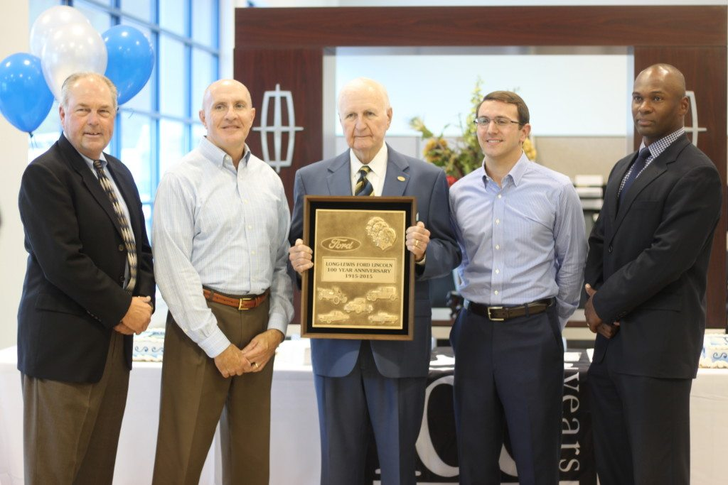 From left: Alan Brauer, regional manager, Dwight Burrell, president of Long Lewis Ford, Vaughn Burrell, CEO of Long Lewis Ford, Joe Burrell and Tony Watkins, regional sales operational manager. Journal photo by Kaitlin Candelaria