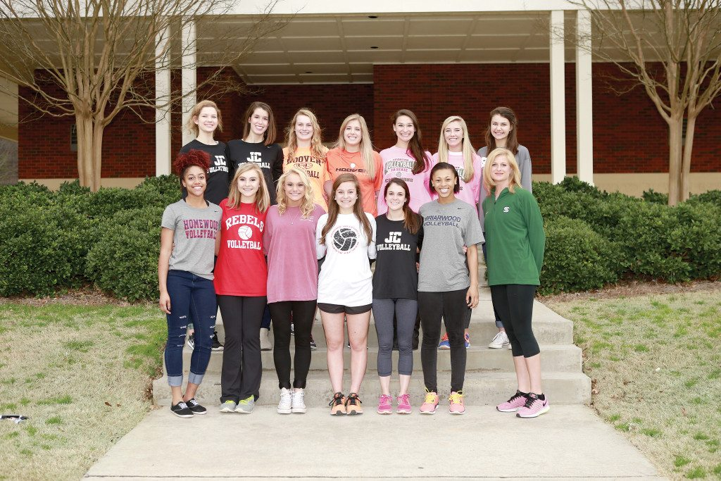 Members of the All-Over The Mountain Volleyball Team include (front, from left): Dejani Hester-Taylor, Homewood; Manon Burris, Vestavia Hills; Cameron Reuschenberg, Oak Mountain; Olivia Portera, Hoover; Anna Runyan, John Carroll Catholic; Taylor Moore, Briarwood; and Coach Haven O'Quinn, Mountain Brook. Back: Kelsi Hobbs, John Carroll Catholic; Mary Catherine Hart, John Carroll Catholic; Ali Lowe, Hoover; Caroline Sanford, Hoover; Sara Carr, Mountain Brook; Payton Selman, Mountain Brook; and Marlee Johnson, Spain Park. Not pictured: Sara Chandler Mitchell, Mountain Brook. Photo by Marvin Gentry.