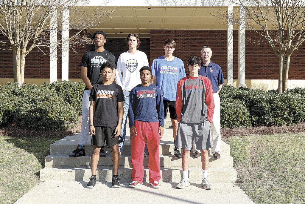 Members of the 2015-16 All Over the Mountain boys basketball team includes, front, from left: Jamari Blackmon, Hoover; Austin Patterson, Homewood; and Luke Touliatos, Homewood. Back: Austin Wiley, Spain Park; Thomas Collier, Briarwood; Will Macoy, Vestavia Hills; and Coach Chris Love, Oak Mountain. Not pictured: Christian Wilson-Poole, John Carroll Catholic; Trey Jemison, Homewood; Trendon Watford, Mountain Brook; Jack Kline, Mountain Brook; Wyatt Armstrong, Oak Mountain; Payton Youngblood, Oak Mountain; Justin Brown, Spain Park; and Jamal Johnson, Spain Park. Journal photo by Marvin Gentry.