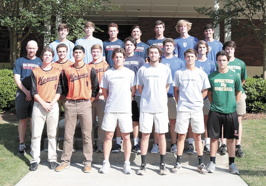 Members of the 2016 All-Over the Mountain Baseball team include, first row, from left: Brock Guffey, Hoover; Noah Barron, Hoover; Carson Griffis, Homewood; Josh Miller, Homewood; John Marc Mullins, Homewood; Luke Hartman, Mountain Brook. Second row, from left: Coach Derek Irons, Oak Mountain; Christopher Vacarella, Hoover; Tyler Williams, Hoover; Samuel Strickland, Briarwood; Sonny Potter, Vestavia Hills; Parker Hershey, Vestavia Hills; Clay Stearns, Mountain Brook. Third row, from left: John McDonald, Oak Mountain; Will Battersby, Spain Park; Bryan Sanderson, Spain Park; Mason Williamson, Oak Mountain; Gene Hurst, Oak Mountain; Caden Lemons, Vestavia Hills; Christian Cusimano, Vestavia Hills. Not pictured: Luis Fuentes, Briarwood; Matt Cerfolio, John Carroll Catholic; Nathan Hospes, Vestavia Hills, and Joseph Hartsfield, Oak Mountain. Photos by Marvin Gentry.