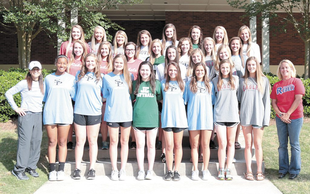 Members of the 2016 All-Over the Mountain softball team are, front row, from left, Kynadi Tipler, Spain Park; Kate Campbell, Spain Park; Maddie Majors, Spain Park; Alyssa Barnes, John Carroll Catholic; Jenna Olszewski, Spain Park; Julianna Cross, Spain Park; Abby Jones, Oak Mountain; Clara Fuller, Oak Mountain; Coach Lissa Walker, Vestavia Hills; and Coach C.J. Hawkins, Spain Park. Middle row: Jessica Perley, Vestavia Hills; Audrey Meloun, Vestavia Hills; Merritt Cahoon, Vestavia Hills; Allye Lott, Mountain Brook; Abby Tissier, Hoover; Shelby Lowery, Hoover; Rachel Walz, Briarwood; Maddie Katona, Oak Mountain; O'Neil Roberson, Oak Mountain; and Mary Katherine Tedder, Spain Park. Third row: Taylor Coe, Vestavia Hills; Carmyn Greenwood; Oak Mountain; Ashlee Sanders, Oak Mountain; Abby Grace Prayter, Hoover; Jamie Gregg, Hoover; Devon Grace Boyd, John Carroll Catholic; Linley Splawn, Briarwood; and Amelia Moore, Briarwood. Not pictured are Kristie Looney and Venice Sanders, both from Homewood. Journal photos by Marvin Gentry.