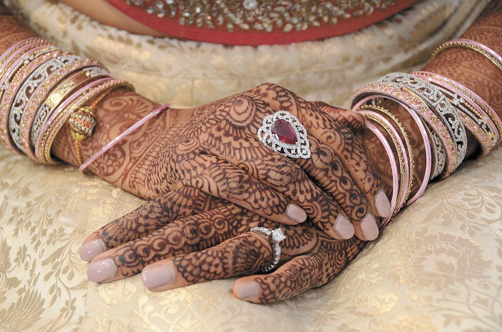 Avani's intricate henna design took more than five hours. Channeling her passion and career, Avani designed all of the jewelry she wore throughout her five-day celebration.