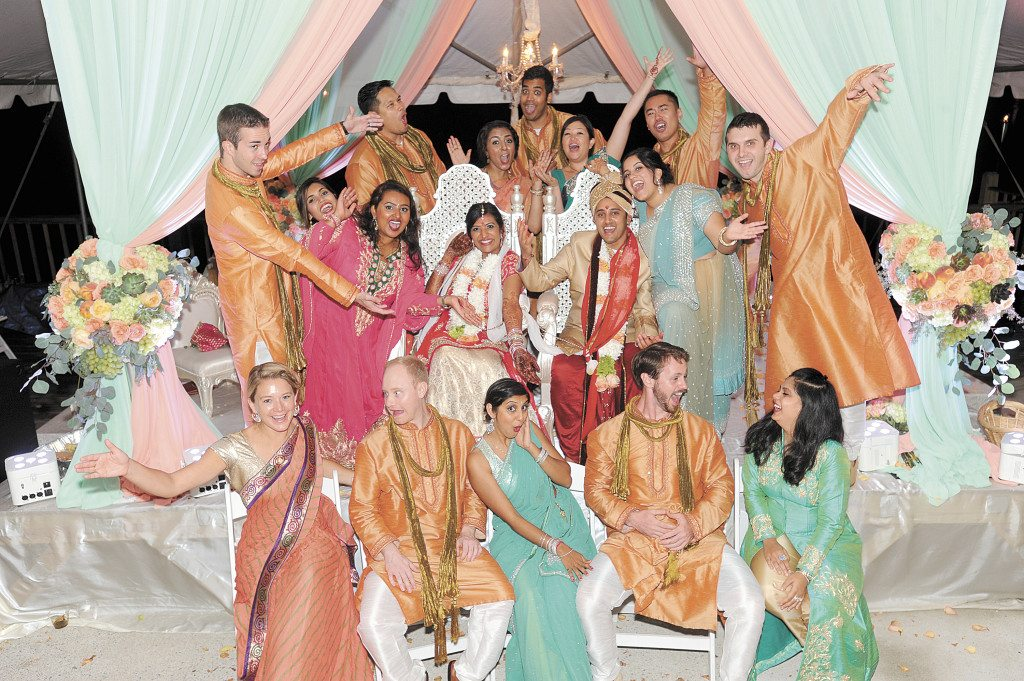 Indian weddings do not typically have bridal parties, but Avani and Milind did invite close friends and family to serve as bridesmaids and groomsmen.