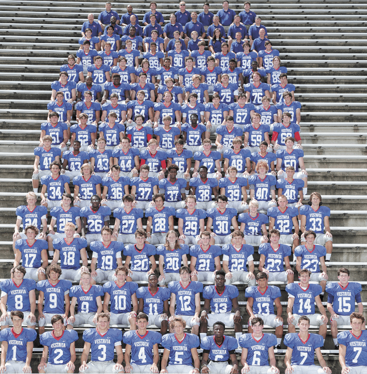 Members of the 2016 Vestavia Hills High School football team include Cole Dothard, Evans Crane, Travis Saunders, Conner Rohling, William Jemison, Kevin Cunningham, Bryce Glenn, Michael Gullage, Alex Hall, Gaines Berry, Garrett Lee, Ferguson Smith, Charlie Ball, Isaiah Flowers, Mitchell Langley, Frankie Donze, Ray Murphy, Coleman Petway, Sean Smyth, Weyman Prater, Cam Blake, Jonathan Hess, Tucker Queen, Chance Stephenson, Sam Fulkerson, Russell Webb, Reed Stockton, Steven Thackerson, Drew Stockard, Charlie Stoves, Andrew Knight, Asher Hamilton, Anthony Sims, Spencer Lawson, Dixon Jones, Everett Shea, Luke Denney, Freddie Updike, William Schaffeld, Cooper Jones, Ben Willoughby, Earl Bradberry, Caleb Huber, Robbie Flowers, Toliver Chatwood, Dovell Smith, DeCameron Adamson, Tripp Lowery, Trip Gurner, Neal Pirtle, Cooper Bishop, Josh Silverman, Errick Griggs, Chris Hughes, Cameron Cacace, Parker Hilburn, Carter Gill, Sawyer Dutton, Rob Barrentine, Ben Barrentine, John David Adams, Slade Stewart, Andrew Cross, Jack Silverman, Conyers Webster, Tucker Smith, Jay Cross, Andrew Sims, Andrew Manush, Grant McLean, Will Philpot, Hamilton Haynes, Richmond Maddox, Jack Kyle, Ryan Lockhart, Patrick Nuss, James Edwards, John Winford, Cort Cooper, Grayton Brooks, Braydon Brooks, Braydon Schick, Austin Kelley, Duncan Jones, Lamar Swain, Walter Thomas, Drew Gurosky, Garrett Griffin, Hayden Haynes, Barrett Striplin, Nathan Bullock, Jacob Edwards, Reed McMahon, Douglas Thompson, Termaine Brown, Micah Davis, Michael Schroeder, Jeremiah Smith, Michael Vice, Marshall Powell, Jacobi Hudson, Carter Sullivan, Jeff Weatherby, Hunter Salmon, William Padgett, Joseph Travis, Kade Cannon, Ben Williams, Diego Melendez, Chatfield Webster, Jack Dunphy, Charlie Dellaccio, Sam Looney, Manraj Singh, Jaimel Foy and Stuart Bradley. Photos by Marvin Gentry.