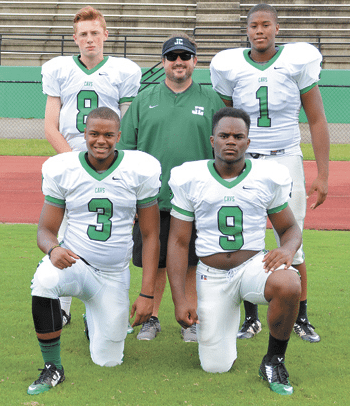"Coach Logan Colafrancesco with, from left, Bailey Mara, Kenyada ""King"" Williams, Demetrius Battle and Alex Mitchell. Jounral photo by Jordan Wald."