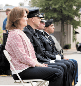Representing 9/11 victims during the Laying of the Wreath ceremony are, from left: Janet Forbes, civilian; Sgt. Drew Evans, police; Gary Noah, fire; and Sgt. Tim Mari, military.