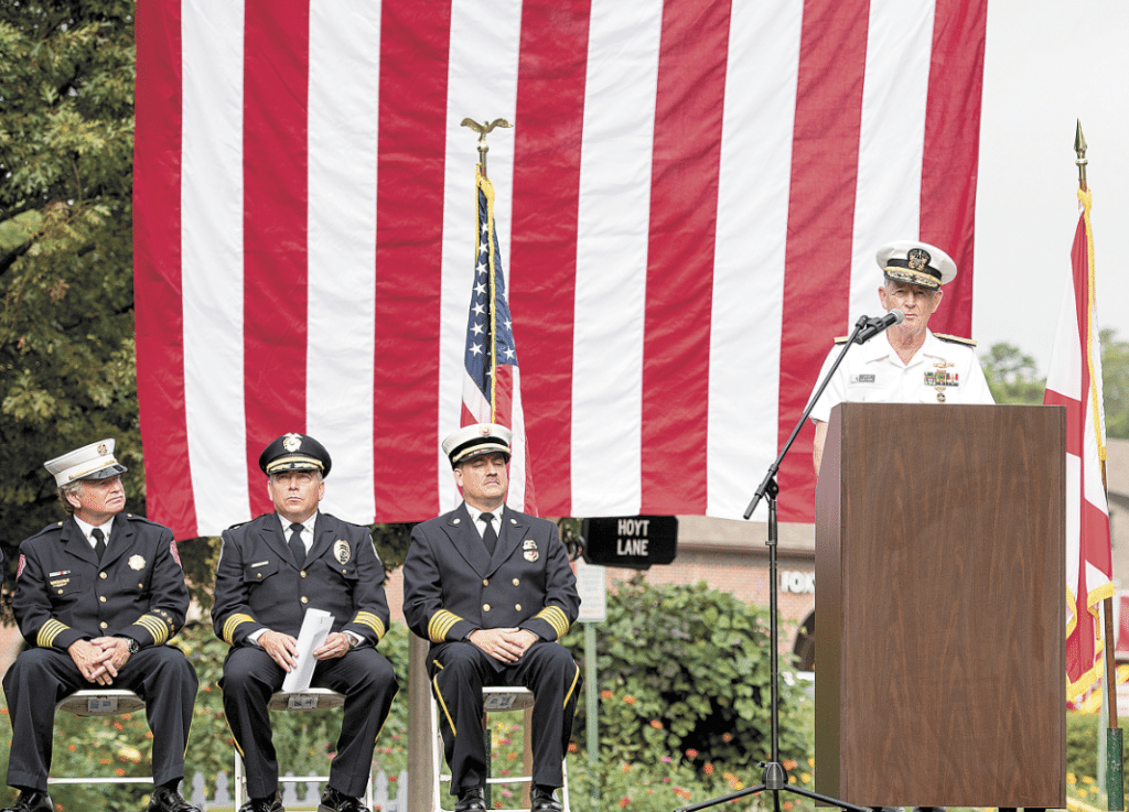 Keynote speaker retired Rear Adm. Jack Natter with, from left, Vestavia Hills Fire Department Chief James St. John, Mountain Brook Police Chief Ted Cook and Mountain Brook Fire Chief Chris Mullins.