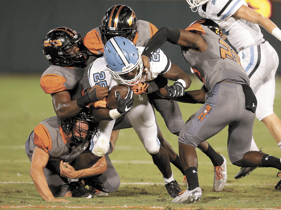 Hoover's defensive unit has only yielded two touchdowns against in-state opponents. Photo by Marvin Gentry.