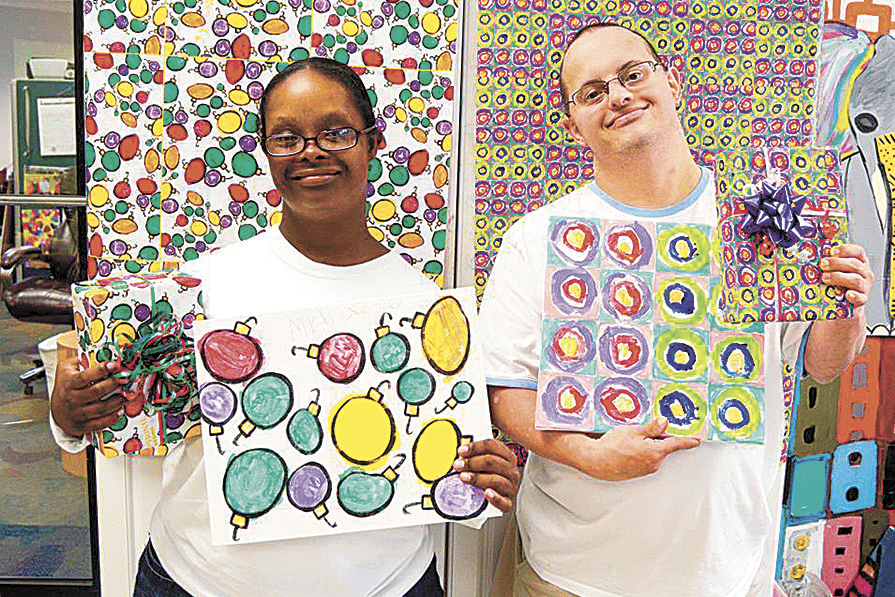 Gift wrapping paper designs are inspired by the artwork of Exceptional Foundation participants Michelle Jeter and Seth Bokatzian.