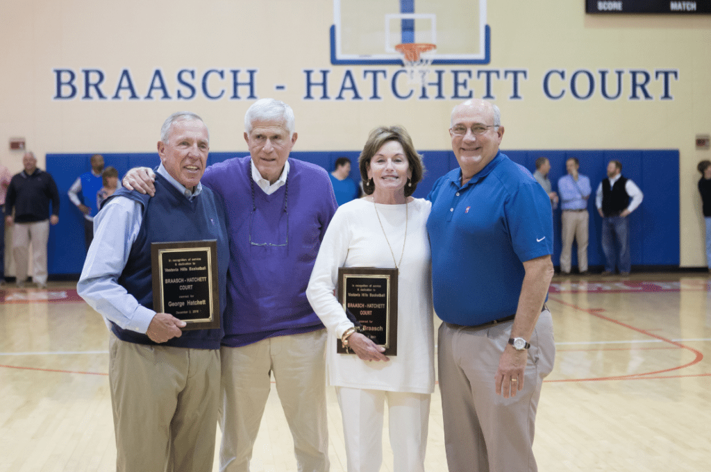 The Vestavia competition gymnasium was officially named Braasch-Hatchett Court recently after long-time Rebel girls basketball coach Fran Braasch and Rebel boys basketball George Hatchett. Attending the ceremony were former Vestavia principal Michael Gross and Vestavia head football coach Buddy Anderson.
