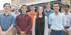 HOMEWOOD: Front, from left: Hunter Callaway, Stanford Massie, Jane Ann Langford and Harrison Wingo. Back: Colin Clifton, Robert Gaddis, Samuel Bates and Hrithik Praveen. Photo courtesy of Homewood High School.