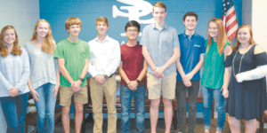 SPAIN PARK: From left: Katherine Turnbull, Katherine Voorhees, Elijah McKinley, Reece Eberhardt, Woody Shin, Ryan Smith, William Lamb, Madison Todd and Jennifer Spell. Photo courtesy of Spain Park High School.