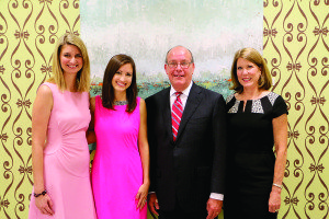 From left: Brittany Jones, general manager at Gus Meyer, Smith Sinrod, designer, Herman Heinle, president of Gus Meyer and Sue Ellen Lucas, co-chair of the Linly Heflin Scholarship Luncheon and Fashion Show.