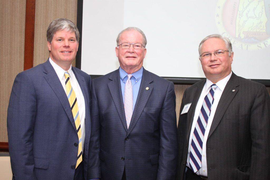 Rep. David Faulkner, Sen. Jabo Waggoner and Samford Provost Matt Hardin. Journal photo by Kaitlin Candelaria