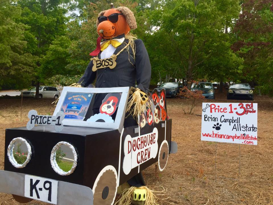"""Mera Price's third-grade class based its scarecrow on the book """"The Night I Followed the Dog."""""""