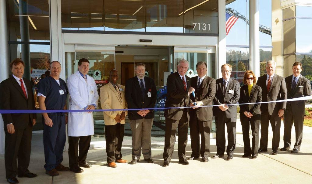From left: Steve Preston, Tenet Southern Region VP of External Affairs; Bryan Westbrook, RN, FED Nursing Director; Jim McLester, MD, FED Medical Director; Conrad Brown, PhD, RN, Administrative Director of Brookwood Emergency Services; Larry Dye, MD, President of Brookwood's Medical Executive Committee; Gary Ivey, Mayor of Hoover; Garry Gause, CEO of Tenet Southern Region; Chuck Stark, CEO of Brookwood Medical Center; Jackie Martinek, RN, Brookwood's Chief Nursing Officer; Chris Bell, President of Brookwood's Board of Governors; and, Keith Parrott, CEO of the joint venture between Brookwood Medical Center and Baptist Health System. Photo special to the Journal