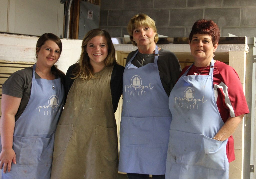 Cutline: From left, Tosha Lyles serves as the full time assistant for the Prodigal Pottery program. Here, she is pictured with Jamie Ankenbrandt, director, full-time staff member Donna Reiber and part-time staff member Rhea Grady. Photo special to the Journal