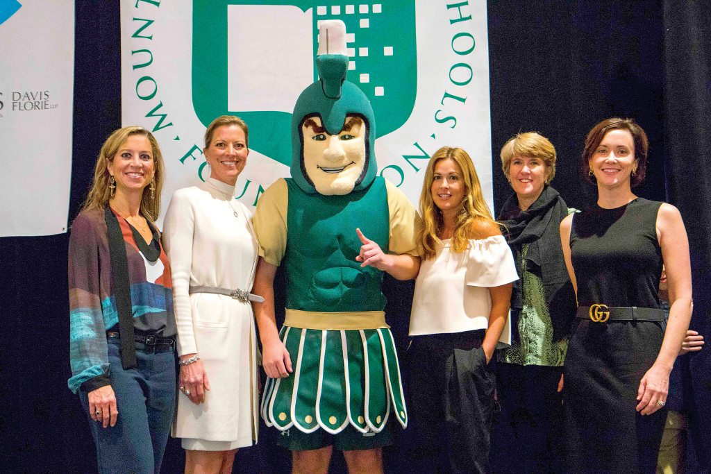 From left: Martha Thompson, Lori Robertson, Sparty, Caroline Gidiere, Alice Womack and Annemarie Axon.