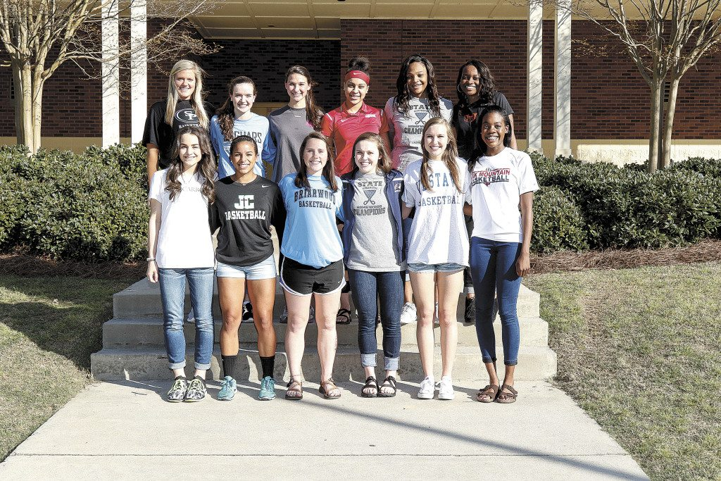 Members of the 2015-16 All Over the Mountain girls basketball team includes, front, from left: Kaitlin Gagliano, John Carroll Catholic; Roni Richardson, John Carroll Catholic; Shelly Proctor, Briarwood; Hannah Barber, Homewood; Jessica Compton, Vestavia Hills; and Jacoby Sims, Oak Mountain. Back: Elizabeth Philpot, Spain Park; Claire Holt, Spain Park; Sara Carr, Mountain Brook; Ajah Wayne, Homewood; Tori Webb, Homewood; and Kendra Langham. Not pictured: Jailyn Maddox, Hoover, and Coach Ronald Steele, John Carroll Catholic. Journal photo by Marvin Gentry.