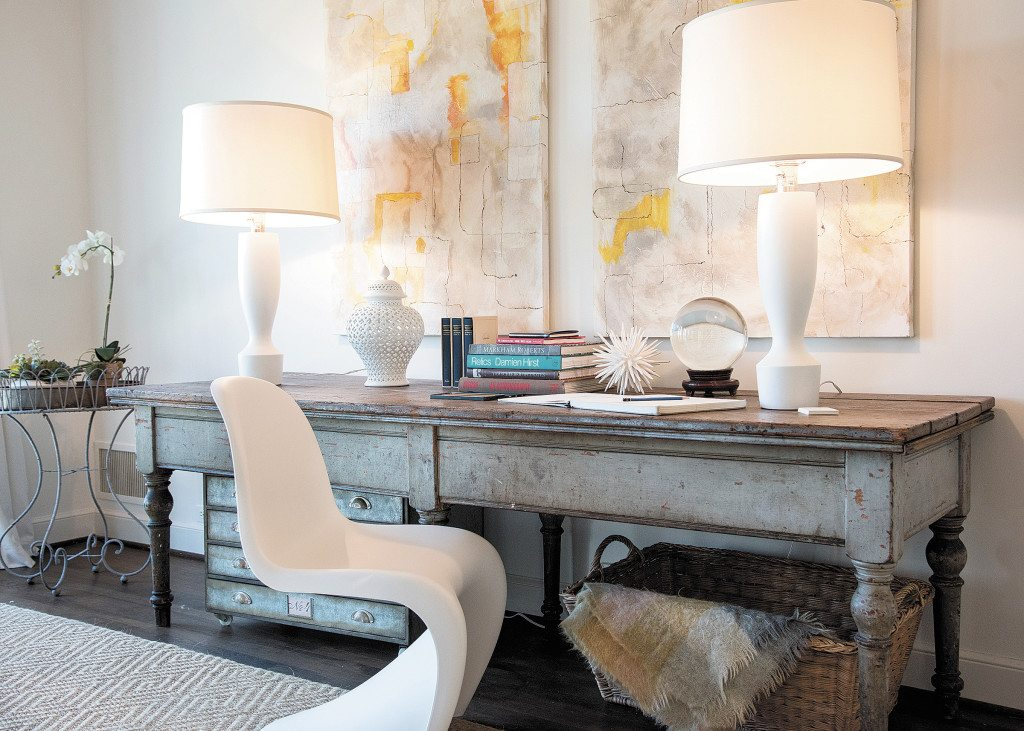 A sturdy work table in McRae's ShowHouse bedroom came from New York's Hudson Valley.