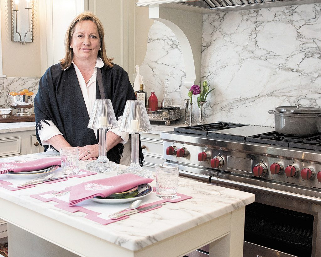 Cyndy Cantley, of Cantley and Company, installed a scaled-down, marble-topped island in the Decorators' ShowHouse kitchen. Journal Photos by Lee Walls Jr.