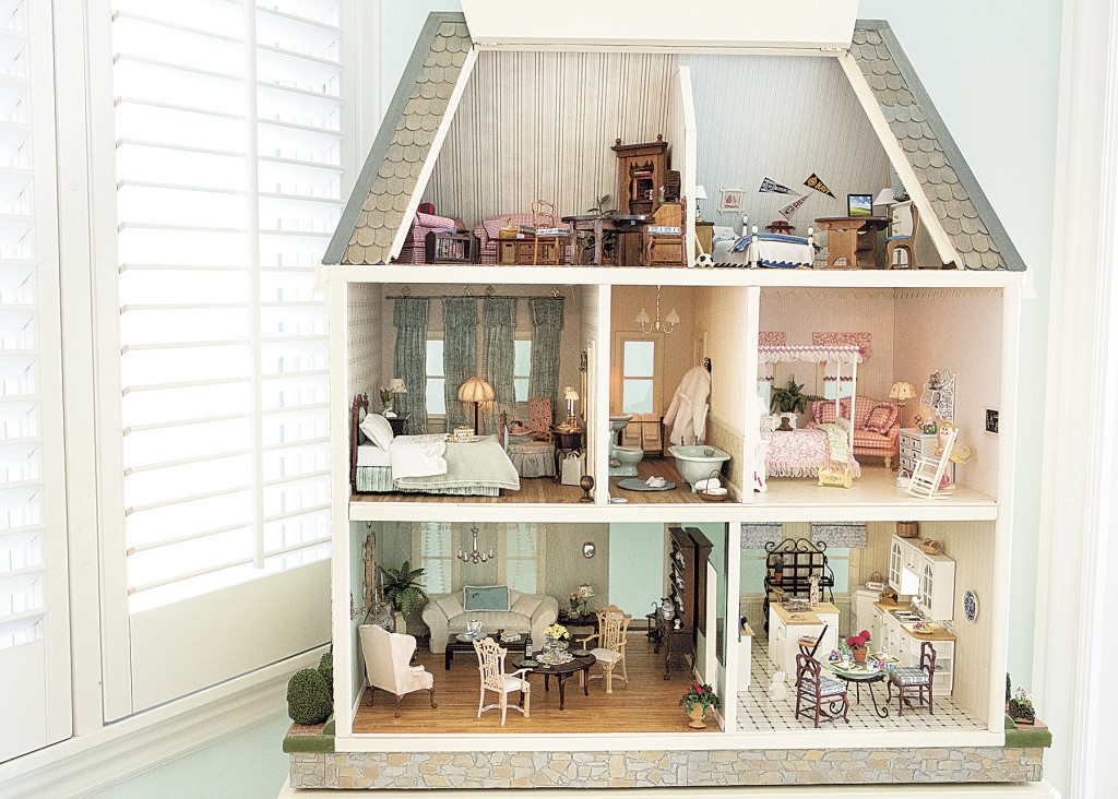 This three-story dollhouse originally belonged to Clayton's oldest daughter.