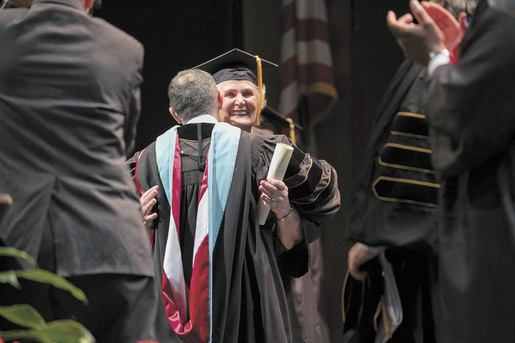 Lottie Jacks walked across the Wright Center stage May 14 to receive her degree in biology nearly 65 years after she began her college journey at Samford University, then called Howard University. Photo courtesy of Samford University.