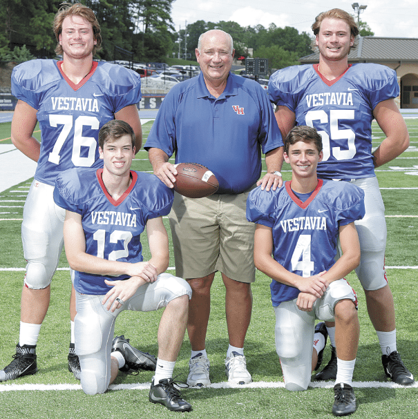 Coach Buddy Anderson with, front, from left: Mitchell Langley and Conner Rohling. Back: Jacob Edwards and James Edwards.