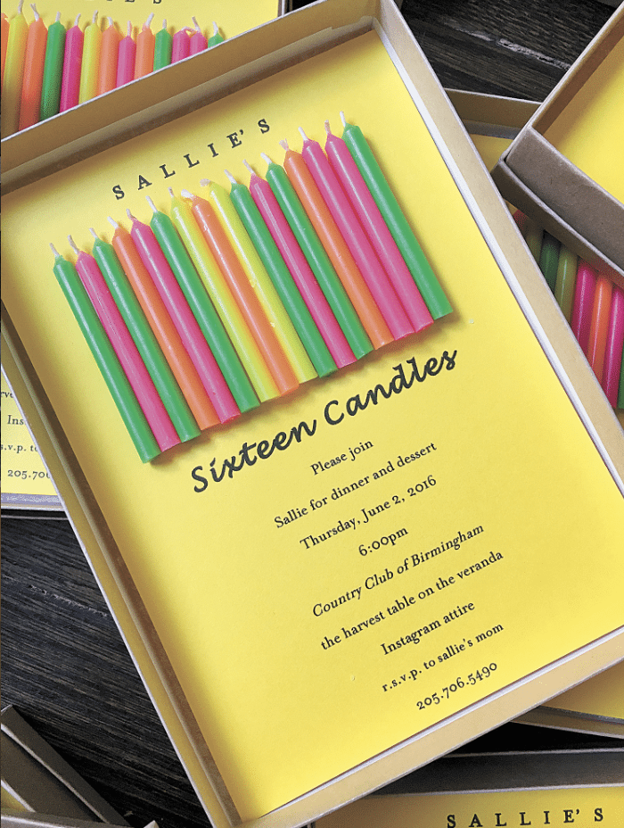 "Invitations for a ""Sixteen Candles"" celebration for her daughter Sallie's 16th birthday."