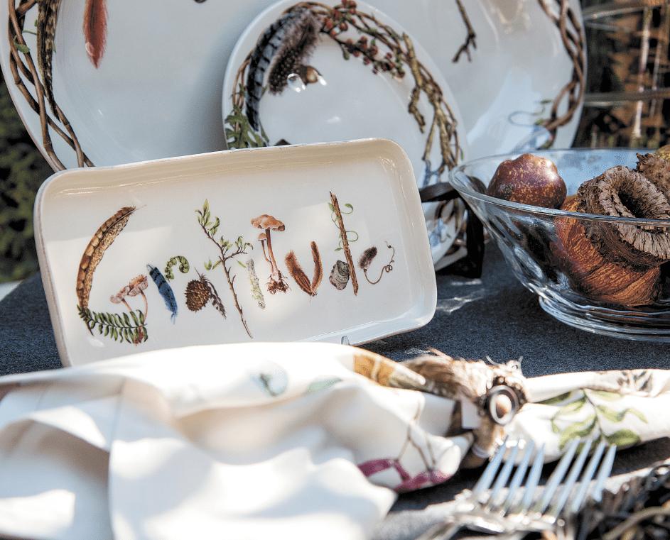 Gooding said small Juliska trays add seasonal flavor to table settings and make great gifts, too. Journal photos by Lee Walls Jr.