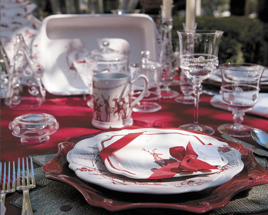 A festive Christmas table was set with Juliska tableware at the event.