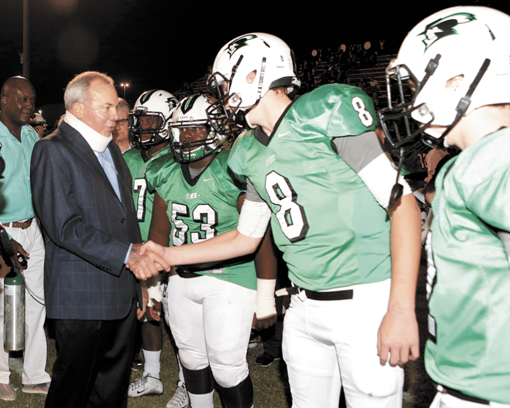 Pat Sullivan was saluted Oct. 7 at the halftime of John Carroll's 40-7 win over Springville, as the Cavaliers' home field was named in his honor. From now on, the Cavs will play at Pat Sullivan Field. Journal photo by Marvin Gentry.