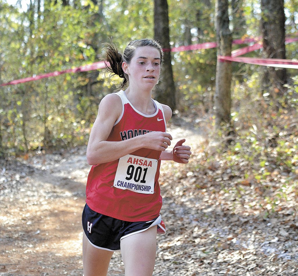 Homewood freshman Lainey Phelps took the individual championship trophy with a time of 18:02.13, the second-fastest time of the day.