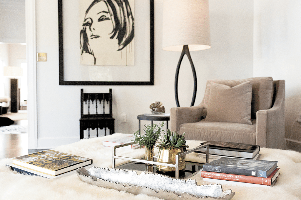 Striking artwork and carefully chosen accents gives the Vogtle house a chic, clutter-free vibe.