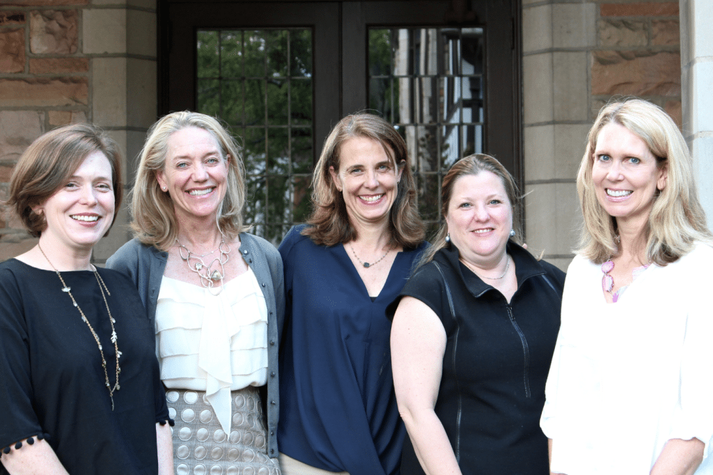 IPC Chairs: From left: Rev. Elizabeth Goodrich, IPC associate pastor; Sarah Duggan, committee chair; Ann Walthall, tour chair; Paige Albright, committee chair; and Jennifer Cope, committee chair.