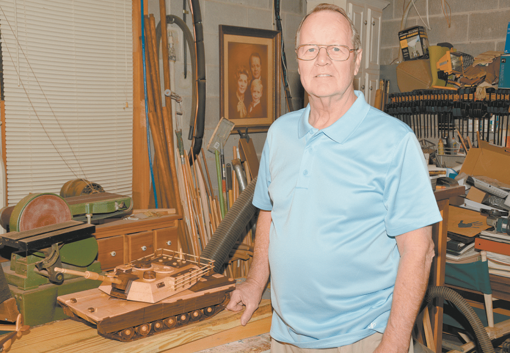 Ralph Hardwick of Hoover found a love of woodworking 46 years ago during a home remodeling project. He has since developed a love of creating wooden models of planes, trains and automobiles, which he sells at the Assistance League's non-profit gift store PrimeTime Treasures. Journal photos by Jordan Wald.