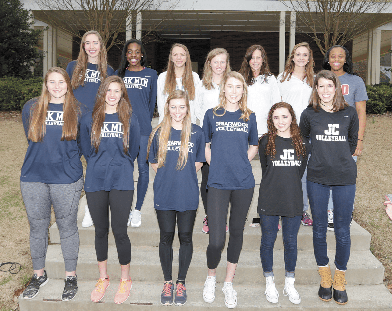 Members of the 2016 All-Over the Mountain volleyball team include, first row, from left: Torie Denkers and Ashley Treace, Oak Mountain; Anna Donohue and Grace Patterson, Briarwood; Sophia Ragusa and Mary Catherine Hart, John Carroll Catholic. Second row: Kendall Scharbert and Jacoby Sims, Oak Mountain; Karlee Moss, Spain Park; Libby Grace Gann, Emmy Kilgore and Caroline Davies, Mountain Brook; Venice Sanders, Homewood. Not pictured: Lacey Jeffcoat, Mountain Brook; coach Haven O'Quinn, Mountain Brook; Kyra Hunter, Olivia Portera and Nora Webster, Hoover; Morgan Adamson, John Carroll Catholic; Marlee Johnson, Spain Park; and Hannah Vines, Vestavia Hills. Journal photo by Marvin Gentry.
