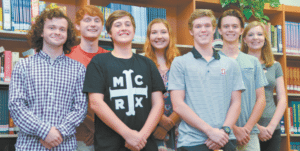 OAK MOUNTAIN: From left: Lawson Brown, Cole Sullivan, Gabriel McPherson, Emery Little, Joshua Myers, Adam Pendry and Alyssa Gruman. Journal photo by Jordan Wald.