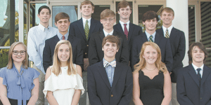 MOUNTAIN BROOK: Front, from left: Ellie Lipp, Ann Douglas Lott, Jack Smith T, Anne Clayton Cole and John Pankey. Middle: Haskins Jones, Jonah Allen and Cars Chandler. Back: Will Forbus, Britton Johnson, Henry Evans and Hamp Sisson. Photo courtesy of Mountain Brook High School.