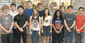 VESTAVIA HILLS: Front, from left: Macy McClurg, Yihan Zhong, Ginger Llivina, Sarah Zhao, Sidhvi Reddy, Chandler Clemmons and Nicolas Aldana. Back: Richard Fu, Nelson Mills, Robert Smith, Joshua Gray and Jacob Reiber. Photo courtesy of Vestavia Hills High School.
