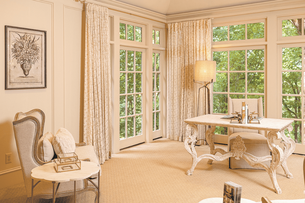 A French Carved Desk Makes An Elegant Statement In The White House Interiors Sitting Room Below